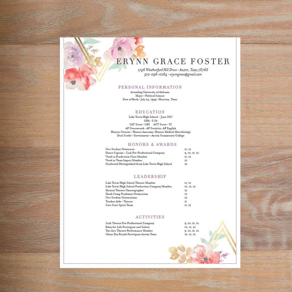 Geometric bouquet fullyformatted sorority resume