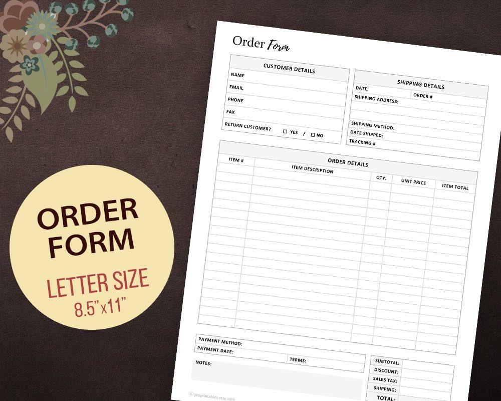 Order Form Printable, Custom Order Form Template