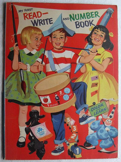 1960s MY FIRST COLORING BOOK vintage illustration cover MERRILL ...