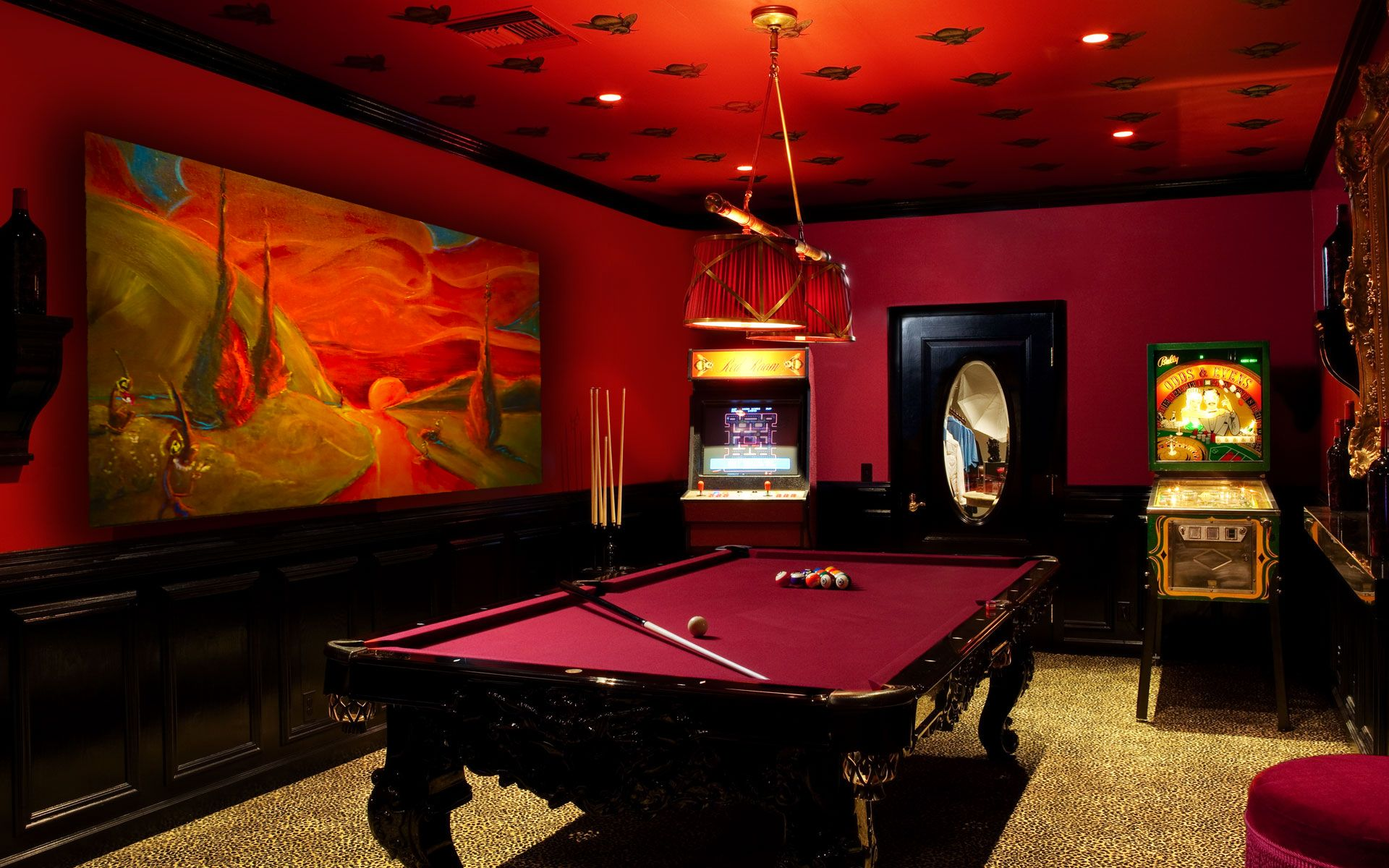 a nice pool hall with a new painting on the side http www