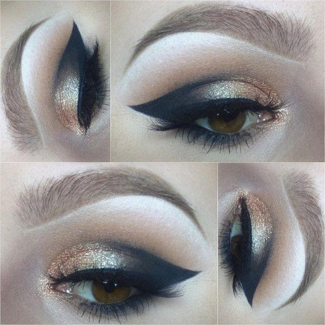 gold & black cat eye cut crease @sleepologist #glitter dramatic makeup #winged