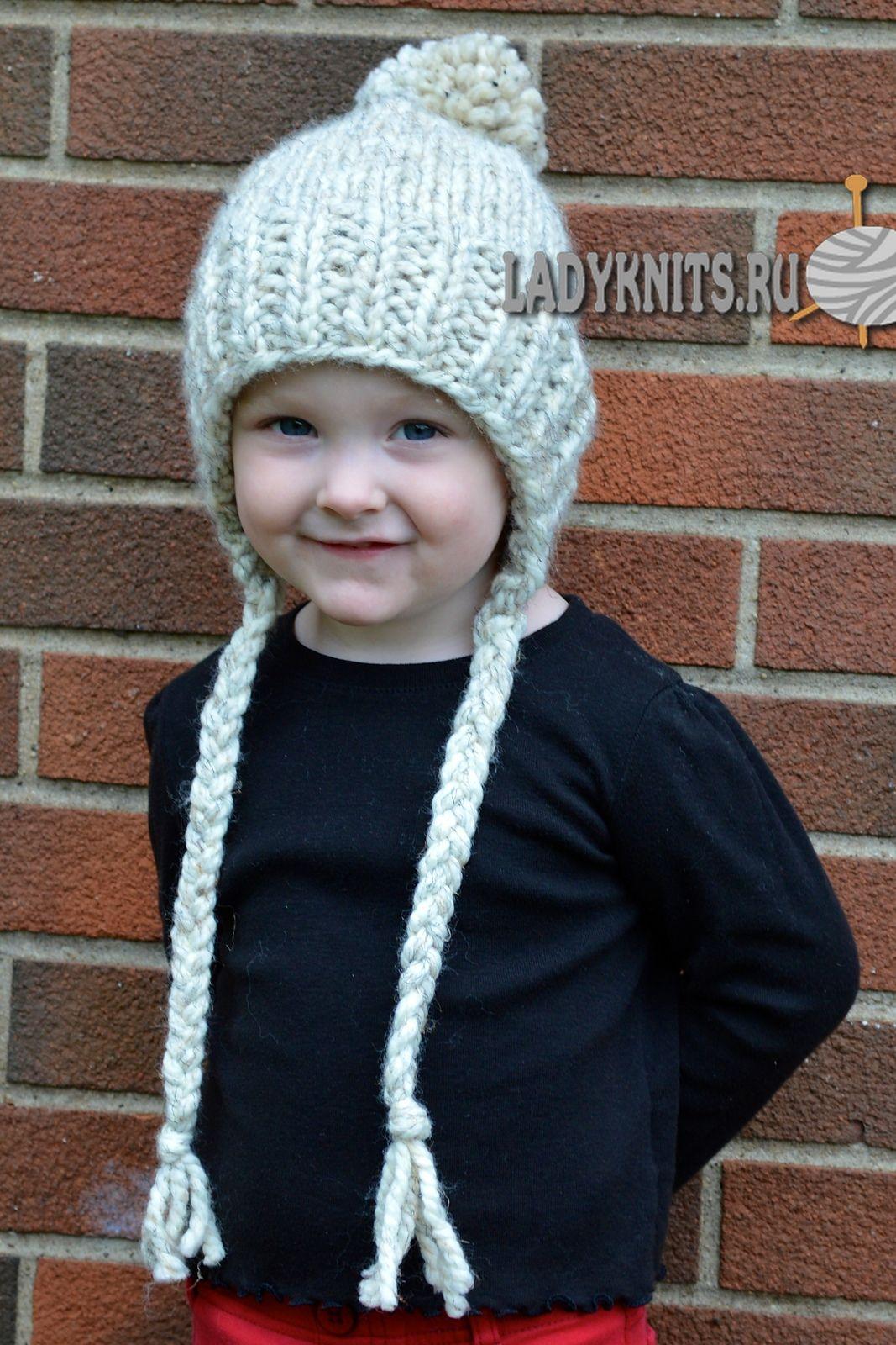 вязаная спицами теплая детская шапочка с завязками аксессуары