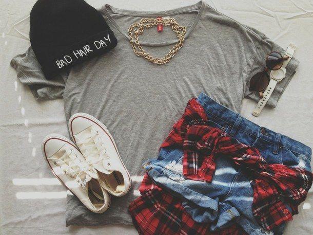 bad hair day, beanie, high waisted, summer, converse, dope, plaid, fall, hipster, fashion, ootd, high-waisted shorts, highwaisted shorts, cu...