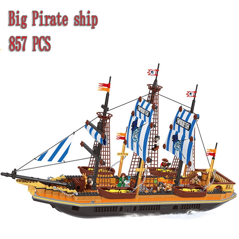 48.95$  Buy now - http://alimb7.worldwells.pw/go.php?t=32698960910 - AUSINI 857Pcs Pirates Series Large Fishing Vessels Model Building Kits Minifigure Blocks Bricks Educational Toy Compatible Gift 48.95$