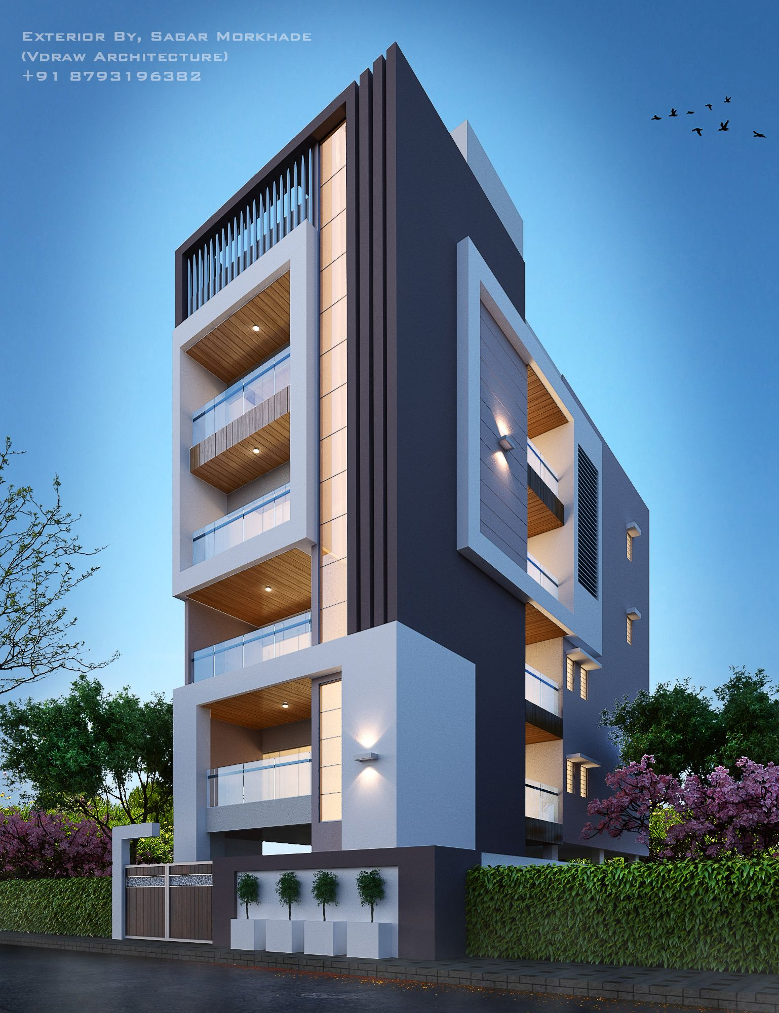Modern Residential House Bungalow Exterior By Sagar: Modern Residential Flat Scheme Exterior By, Sagar Morkhade