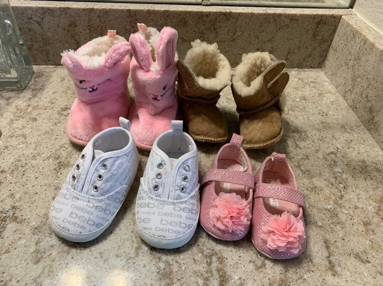 4 pairs of baby shoes brands Bebe ,UGG