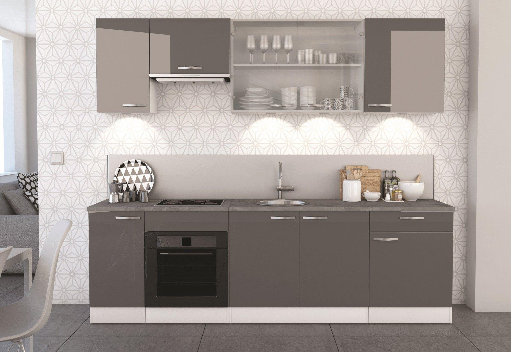 Meuble bas de cuisine contemporain 1 porte/1 tiroir blanc mat/gris ...