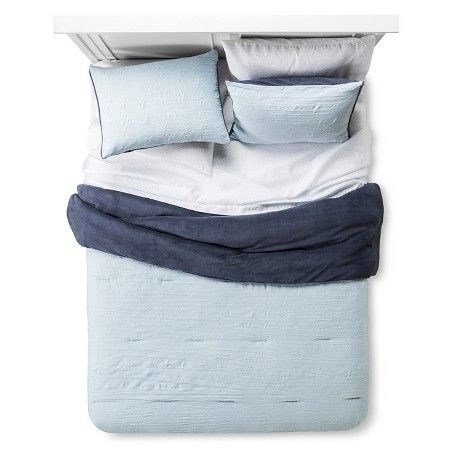 Bedding Set Reversible Textured Blue - Room Essentials™ : Target