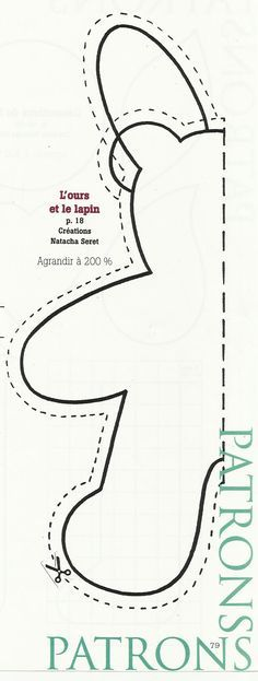 Teddy bear / Bunny pattern - cut on fold | sewing | Pinterest ...