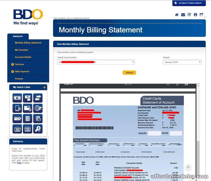 How To View Your Bdo Credit Card Billing Statement Statement Of Account Credit Card Statement Credit Card Credit Card First