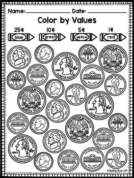 identifying coins and values coloring worksheets brittney marie 39 s tpt products identifying. Black Bedroom Furniture Sets. Home Design Ideas