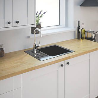 Granite Composite Kitchen Sink Metallic Black 1 Bowl