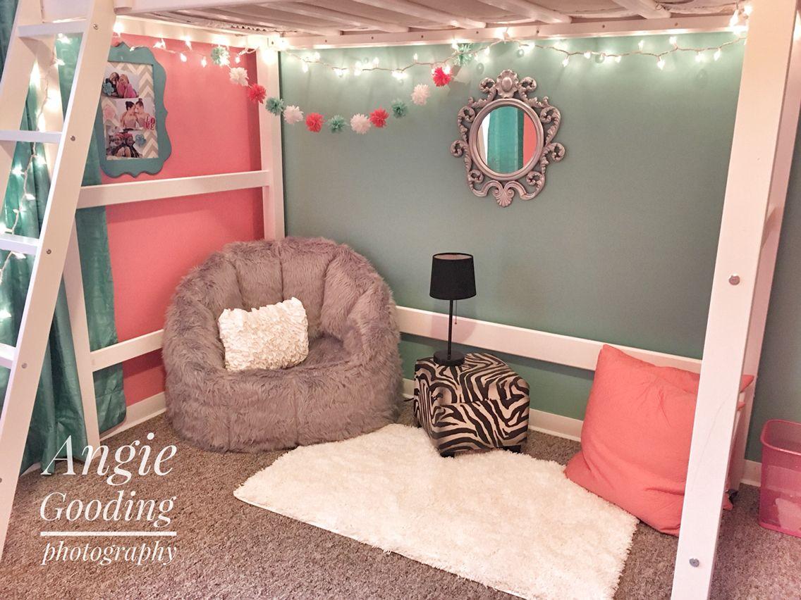 Our Tween Loft Bed Bedroom Makeover Sitting Area Reading