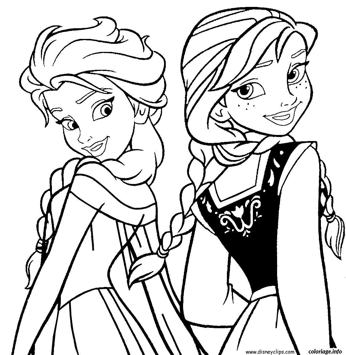 Coloriage Elsa Et Anna Reine Des Neiges Dessin à Imprimer Imprimer