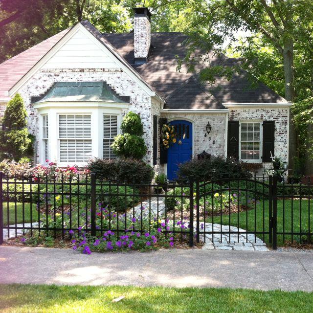 Cottage with blue door on Church Street in Historic Marietta, Ga