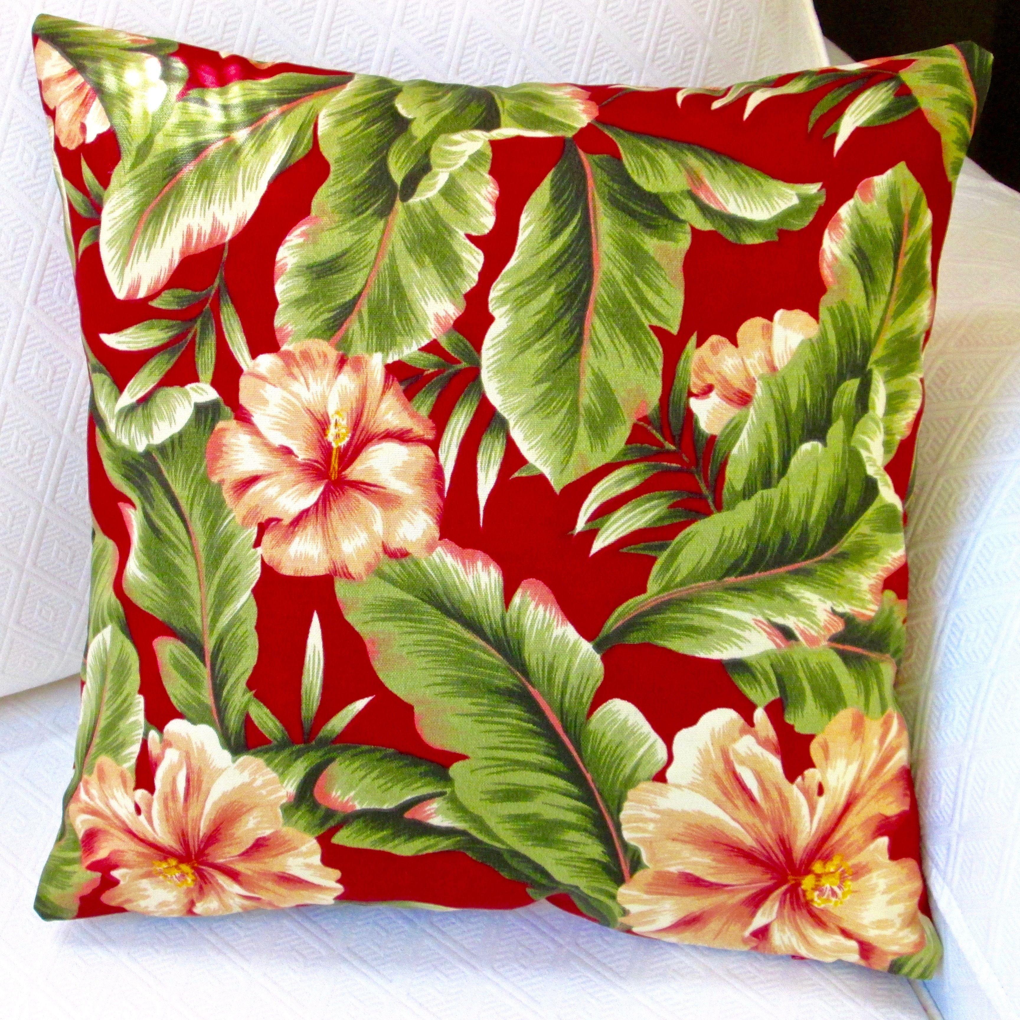 Artisan pillows indoor outdoor 18 inch red hawaiian tropical island artisan pillows indoor outdoor 18 inch red hawaiian tropical island beach decor hibiscus flower izmirmasajfo Images