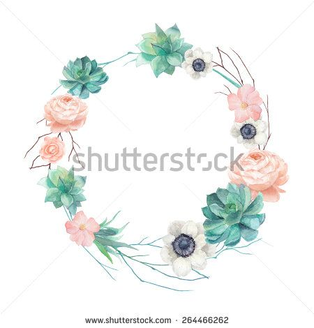 Watercolor Succulents And Flowers Wreath Vintage Round Frame With Tree Branch Pastel Peony Roses Anemones Floral Prints Art Floral Art Watercolor Succulents
