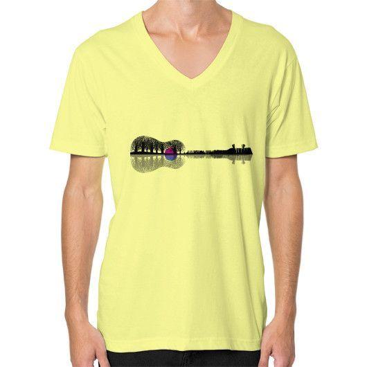 Music instrument tree silhouette ukulele guitar shape V-Neck (on man)