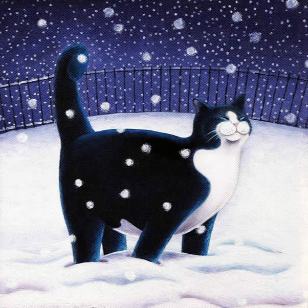 """Happy Cat In Snow"" - Greeting card by Scottish Artist Vicky Mount. Happy Cat In Snow. This blank artist card is published by Art Cove Cards and suitable for Christmas."