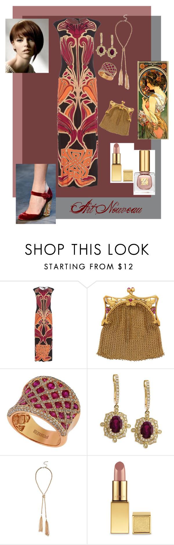 """Art Nouveau Style"" by lacehearts58 on Polyvore featuring Dolce&Gabbana, Biba, Effy Jewelry, AERIN, Estée Lauder, burgundy and artnouveau"