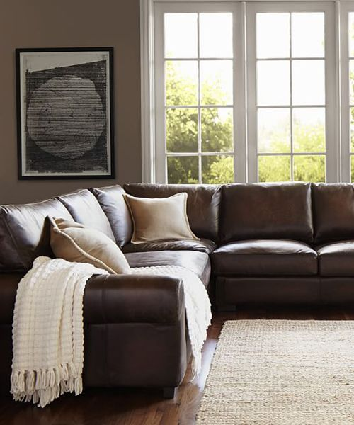 Leather L Shaped Sectional Leather Couches Living Room Brown