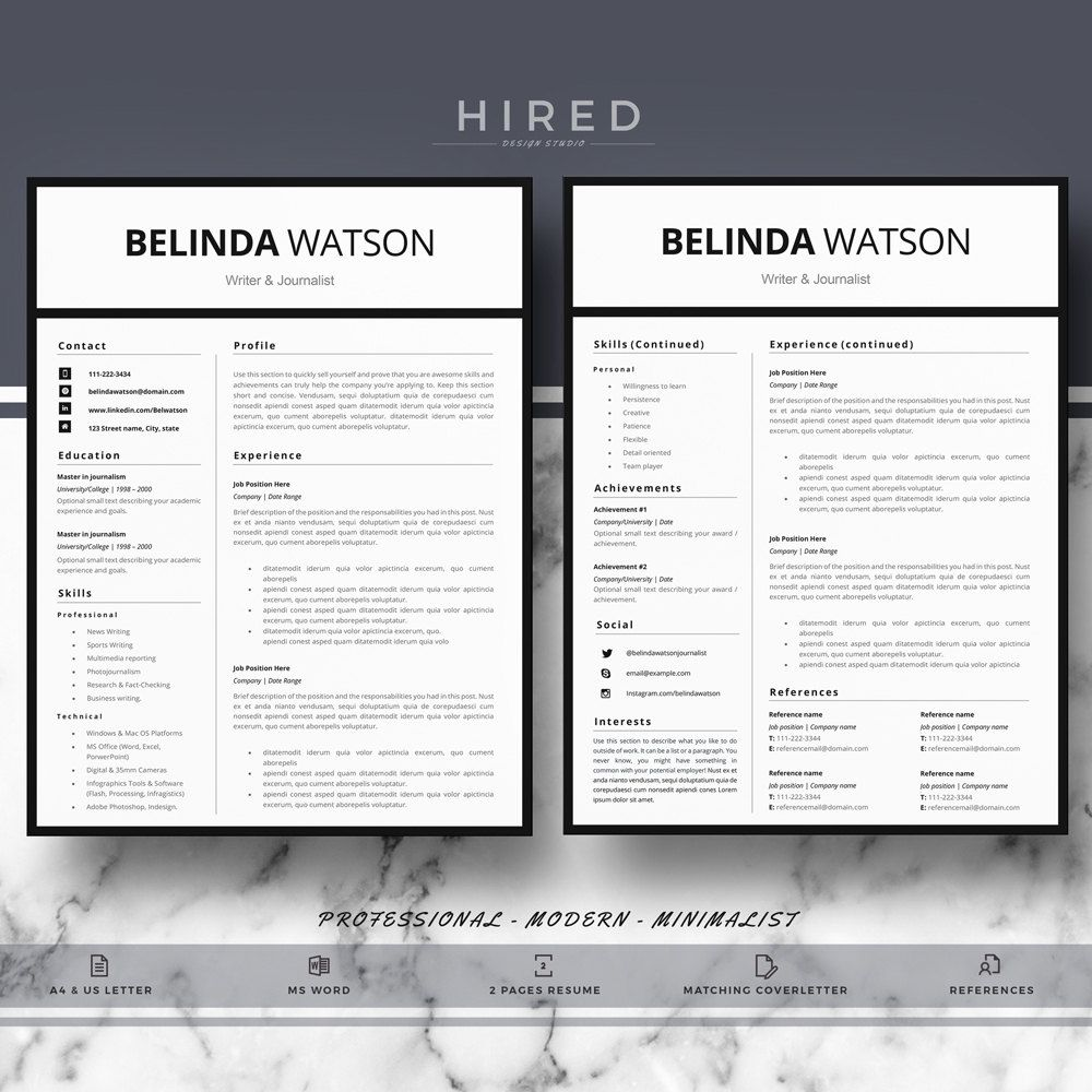 professional resume  cv template  modern resume  cv for word  u0026 pages  minimalist resume  cv