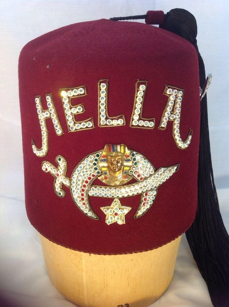 Vintage Masonic Shriners Jeweled Fez Hella Ceremonial Hat W