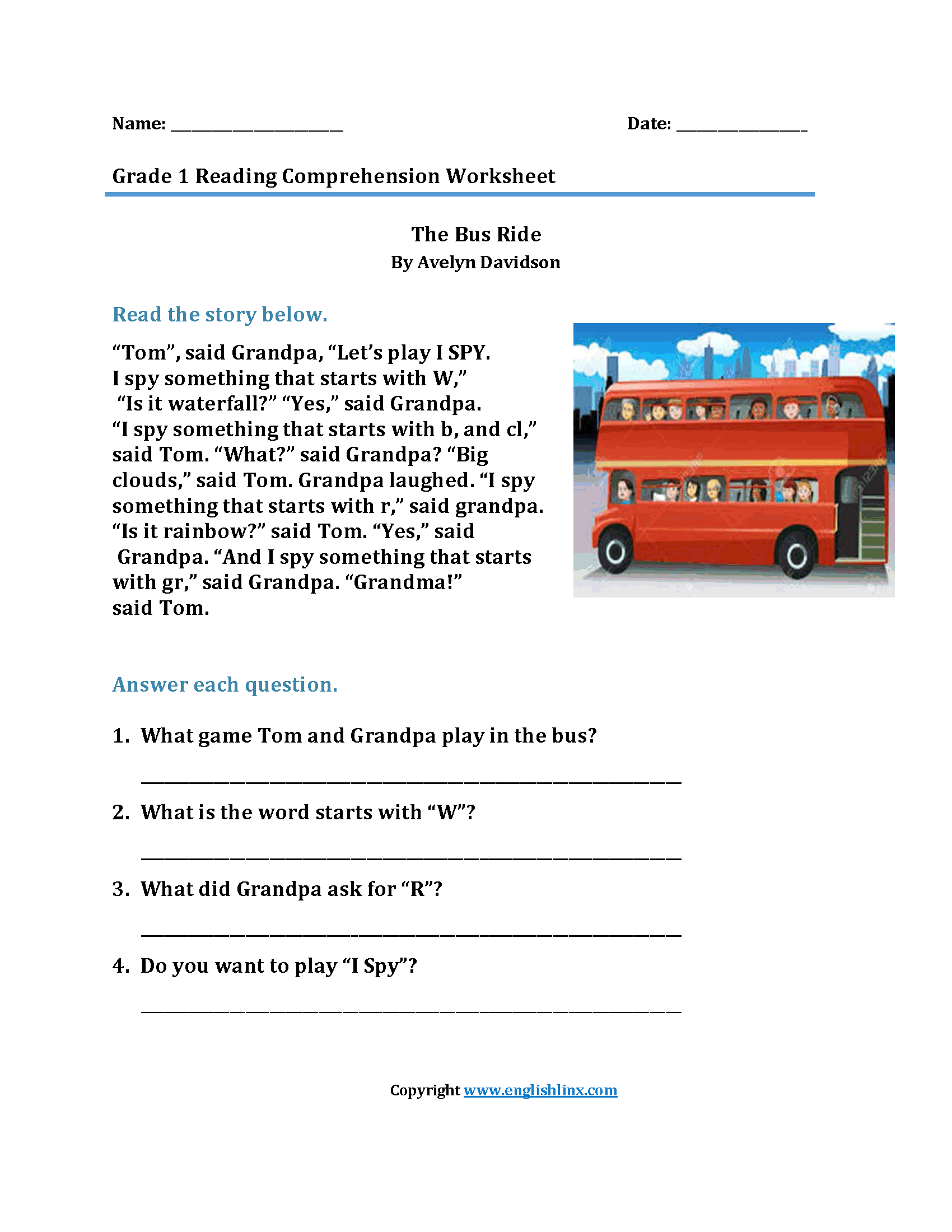 Bus Ride Br First Grade Reading Worksheets Reading Worksheets Reading Comprehension Worksheets Reading Comprehension [ 2200 x 1700 Pixel ]