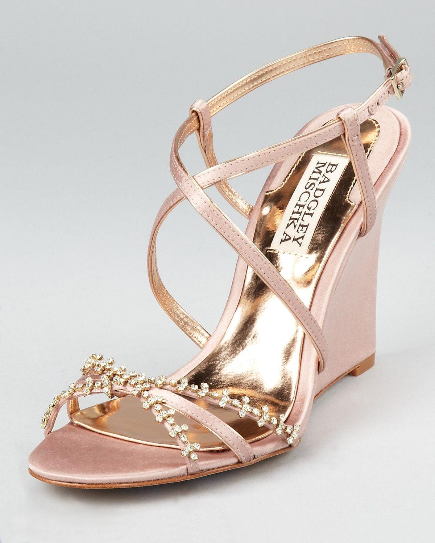 Badgley mischka evening sandals gisele wedge shoes
