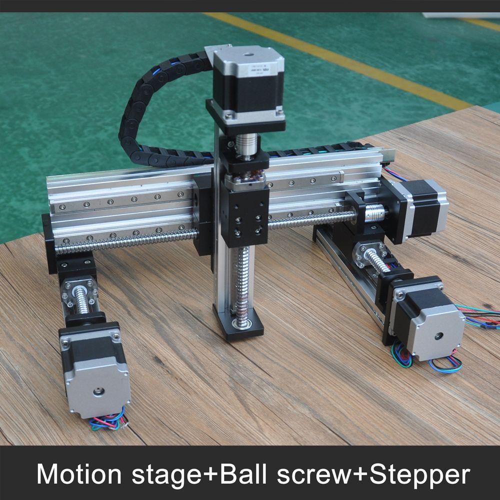 Free shipping 100x100x100mm stroke nema23 stepper motor drive xyz