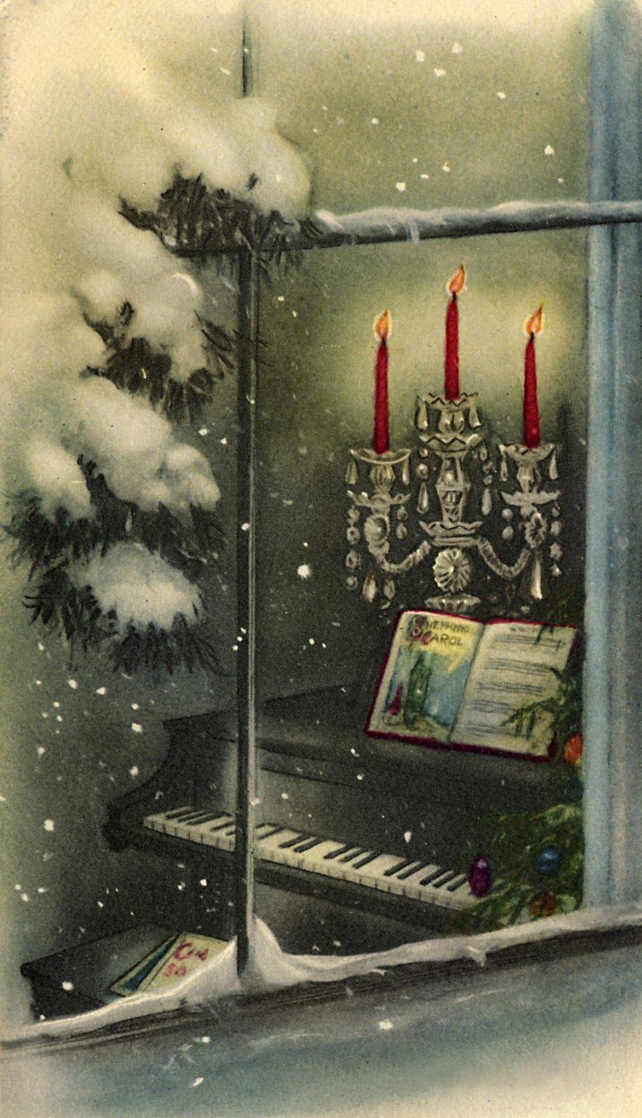 Открытки удачи, окна на новогодних открытках