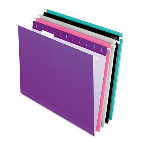 Reinforced Hanging Folders, Letter, Violet, Pink, Grey