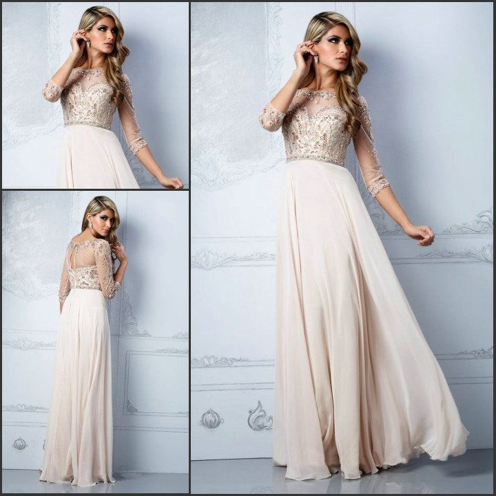 Elegant A-line Sheer Sleeves Crystal Beaded Evening Dresses Long Ivory chiffon Special Occasion Dresses Prom Gowns $169.00