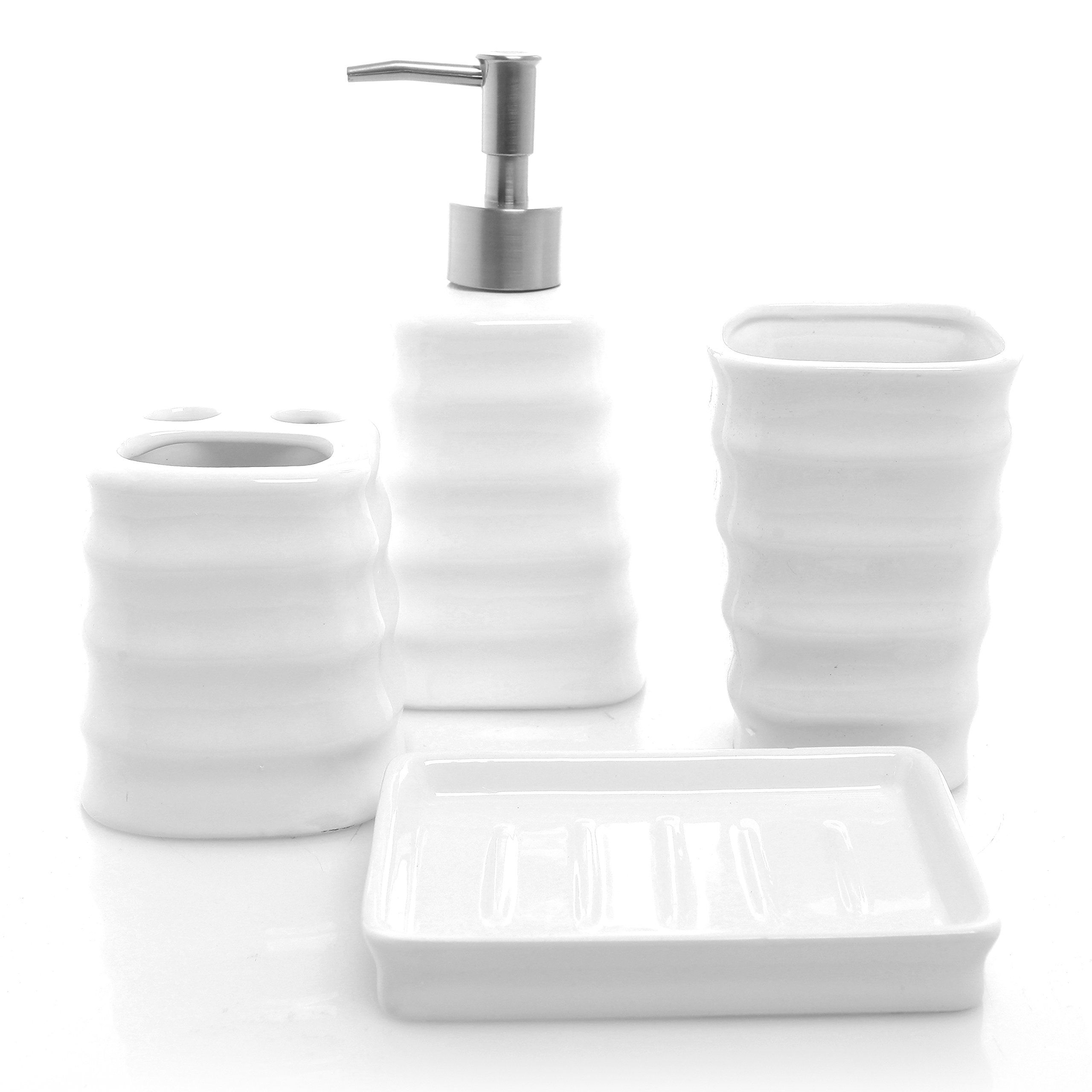 Justnile 4piece Bathroom Accessory Set Elegant Ceramic White With Crystal Stripe You Can Bathroom Accessories Bath Accessories Set Bathroom Accessories Sets