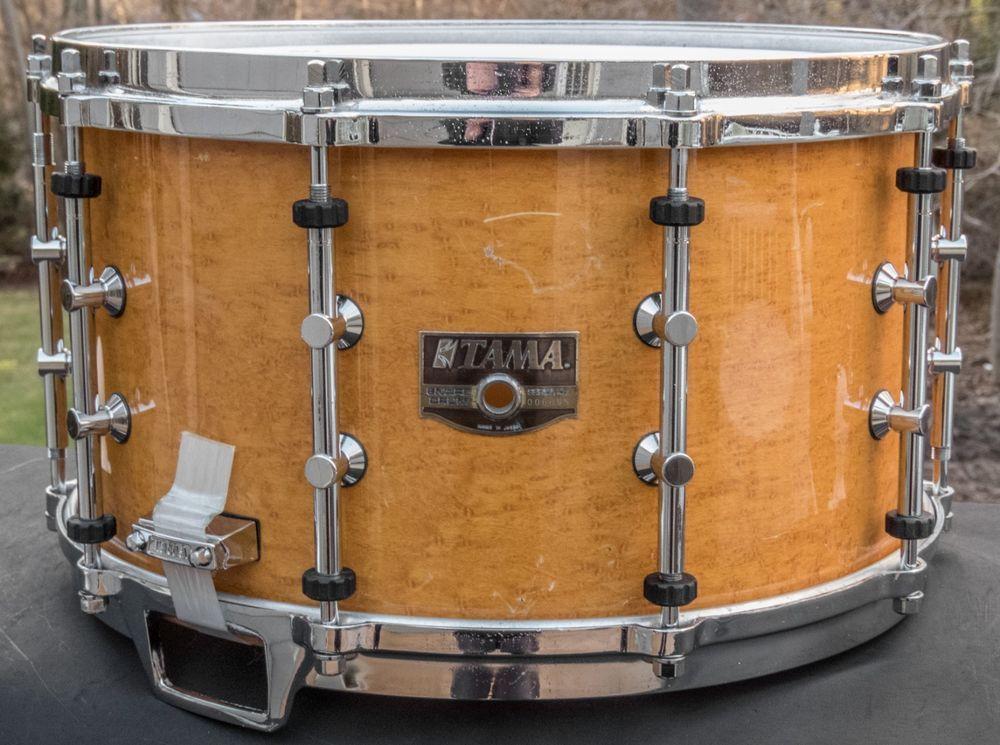 Tama 8 X 14 Artwood Bird S Eye Maple Snare Drum Pat 30 Lugs Aw528bm 1989 Tama Snare Drum Snare Drums