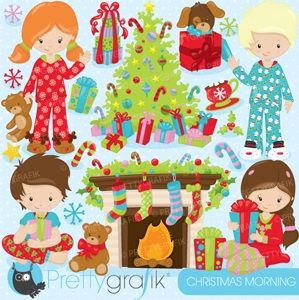 """""""Christmas Morning"""" Includes a Christmas tree, presents, happy kids, candy canes and more!"""