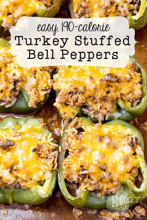 Easy 190-Calorie Turkey Stuffed Peppers