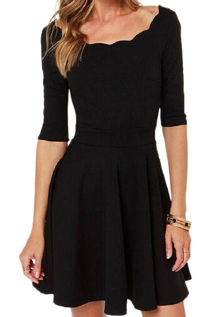 ROMWE A-line Pleated Little Black Dress