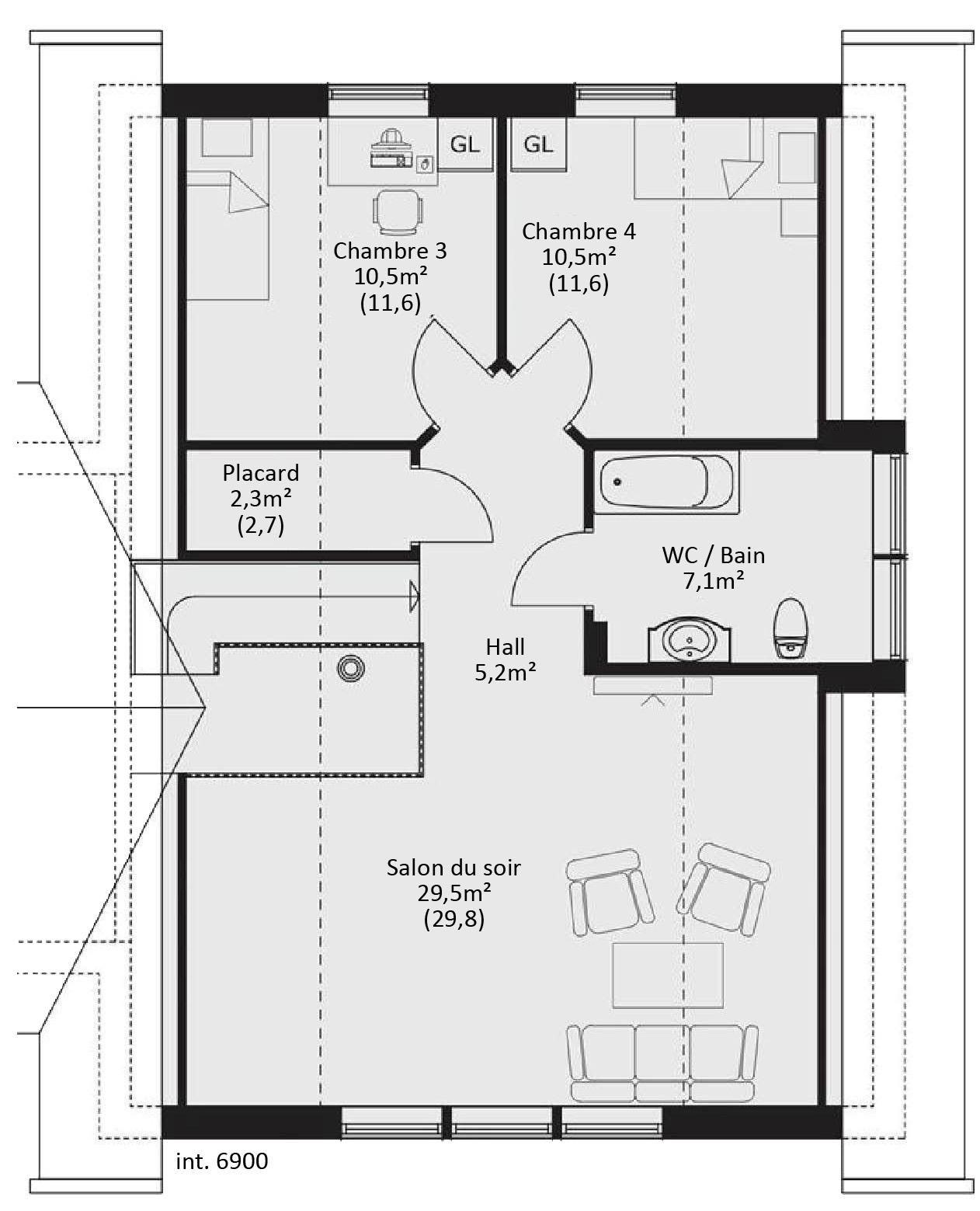 Plan Avec Mezzanine Plan Ossature Bois En L Plan Floor Plans How To Plan