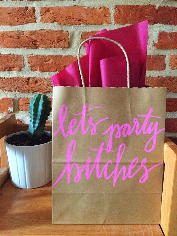 Calligraphy Kraft Brown Paper Gift Bag Bridal Shower Wedding Welcome Bachelorette Party Survival Let S Es On Etsy