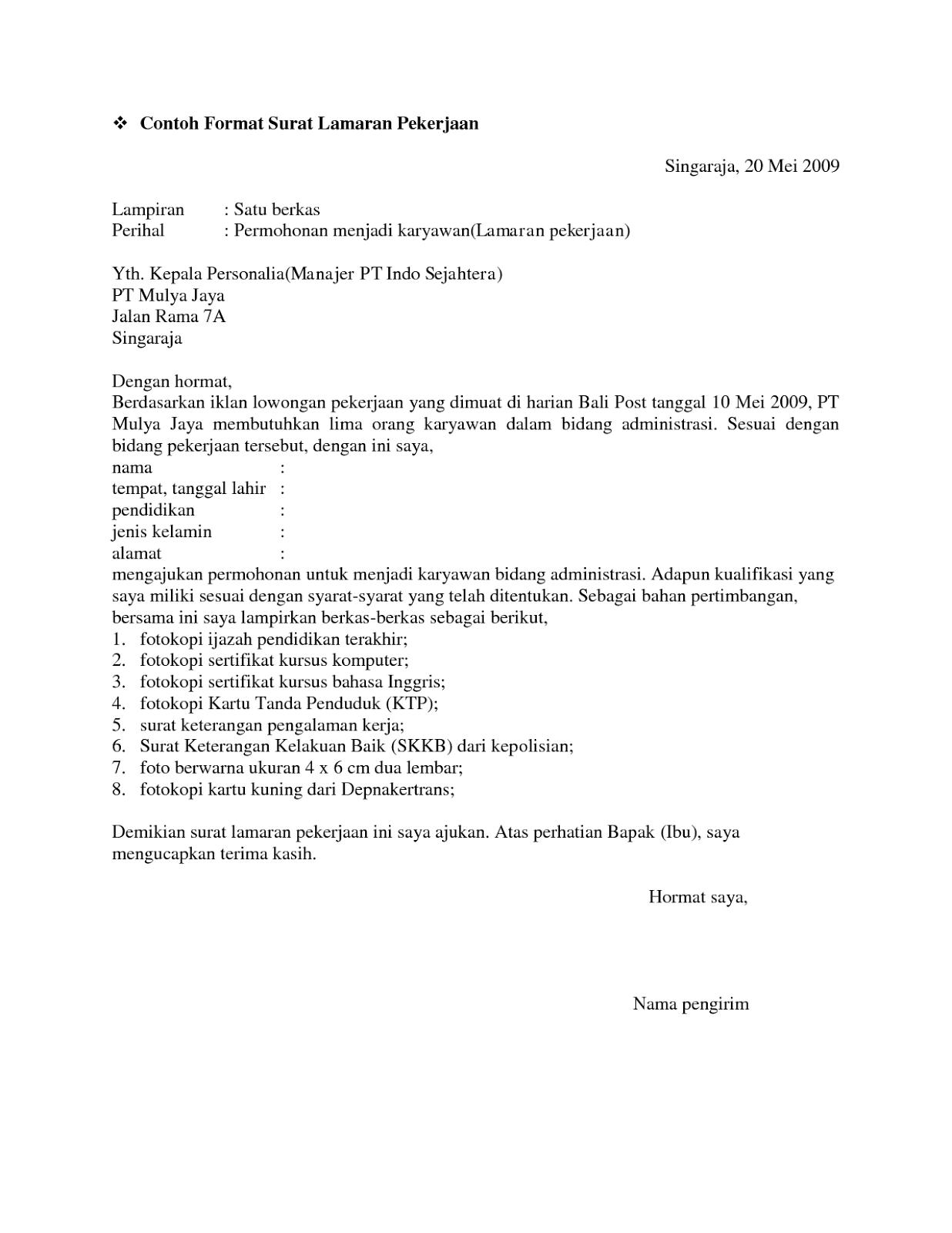 10 Surat Lamaran Pekerjaan Resmi Contoh Lamaran Kerja Dan Cv