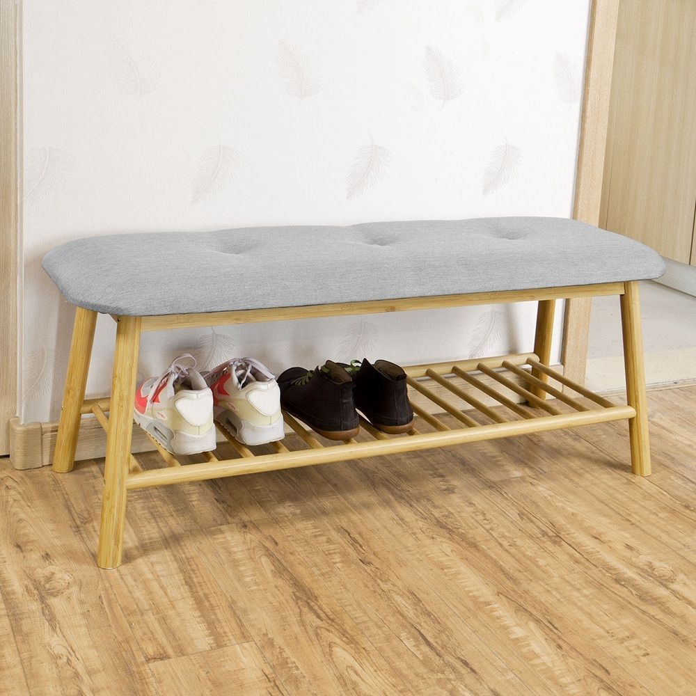 SoBuy Hallway Bamboo 1 Tier Shoe Rack Shoe Bench with Seat Cushion ...