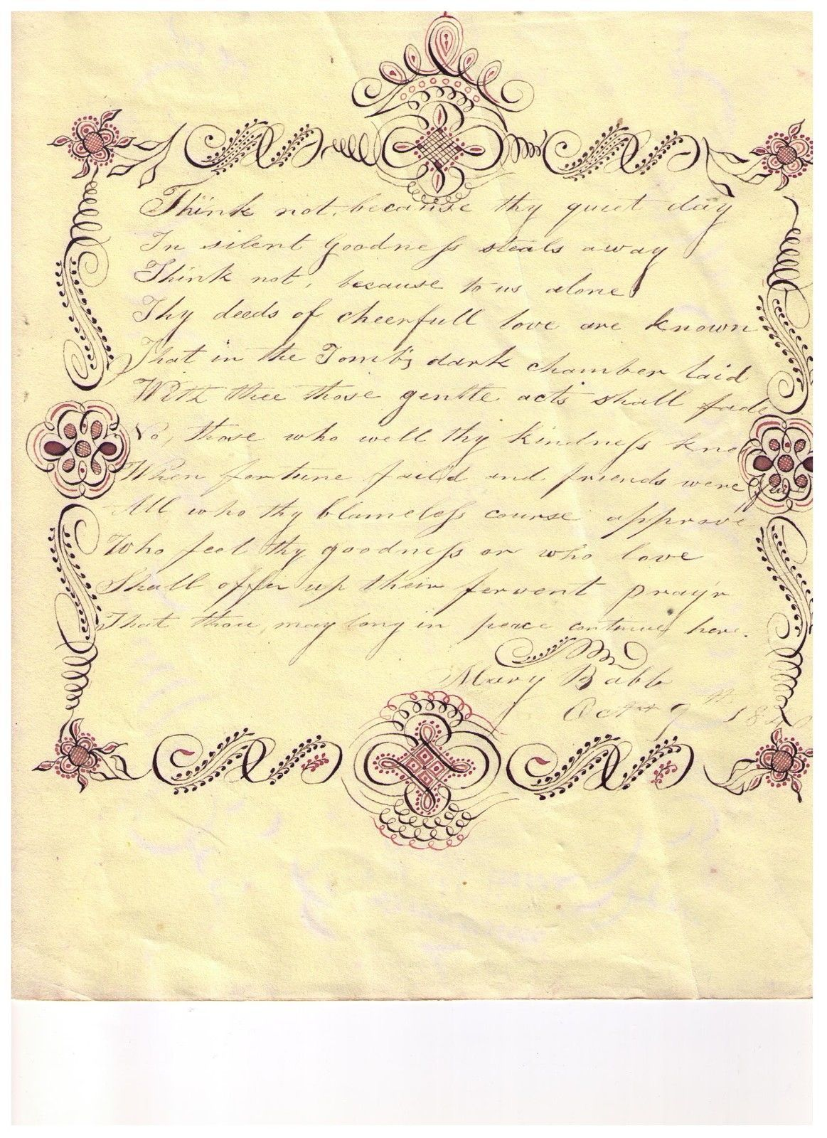 1840s Handmade Love Token Poem And