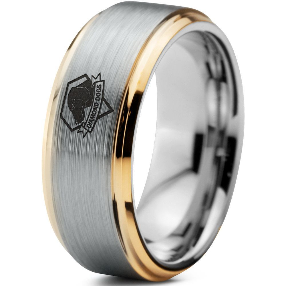 Metal Gear Solid Diamond Dogs 18k Yellow Gold Tungsten Ring