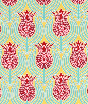 Perfect for the bench in the kitchen!  Joel Dewberry Tulips Canary Fabric - $8.9 | onlinefabricstore.net