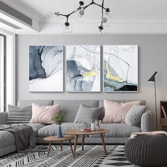 Graue Wände Wohnzimmer: 60 Modern Wall Art At Living Room In 2020