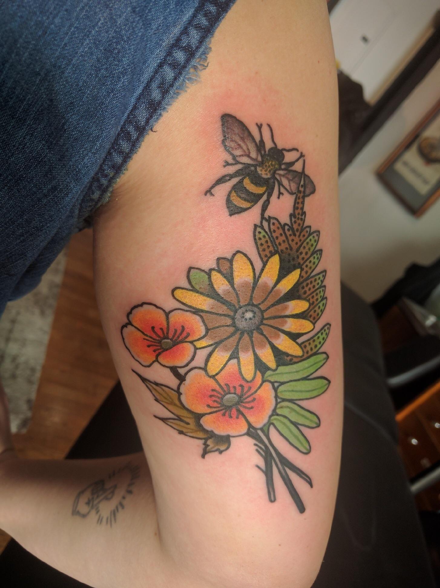 Flowers tattoo amanda leadman at true hand society in