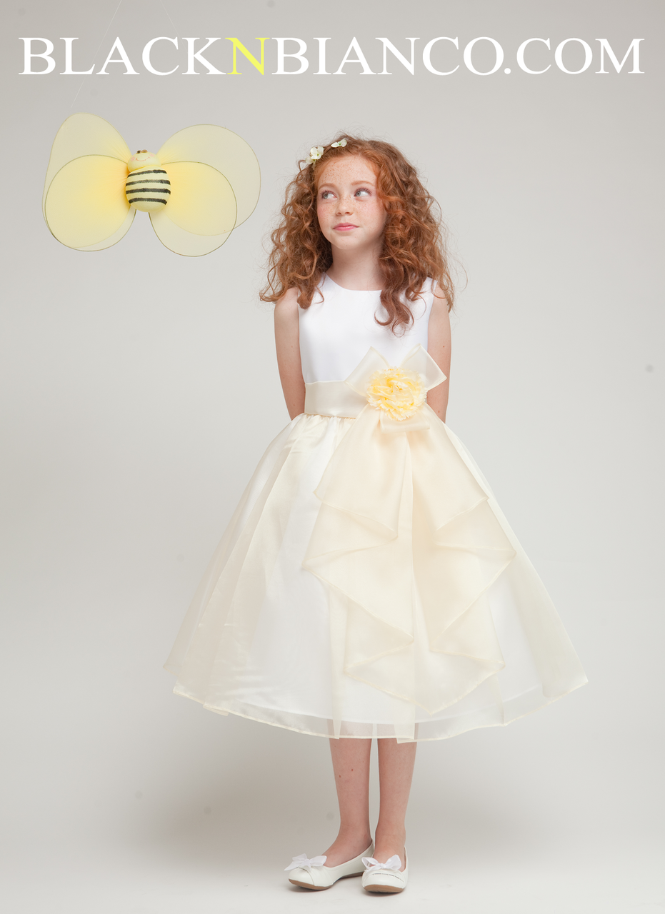 Flower Girl Dress In Satin Accent With Ruffly Skirt Banana And White