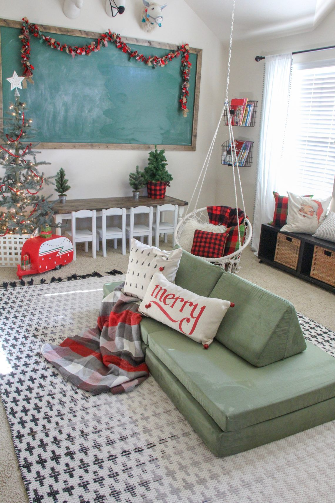 Holiday Home Tour - Life by Leanna decorate playroom for christmas  #christmas #christmastree #christmasdecor #farmhousechristmas #thegrinch