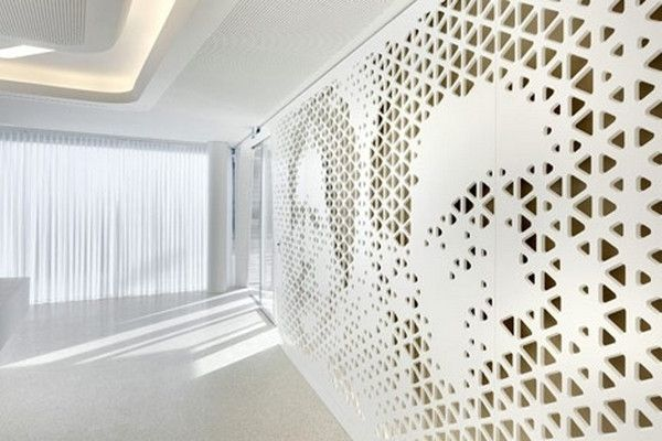 Perforated Walls With Portraits Modern Bank Interior Design